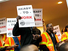LA black workers gathering to create awareness of employment inequity
