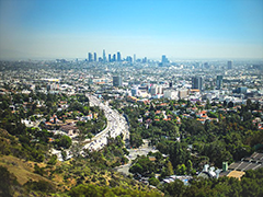 Artistic view of Downtown LA as seen from the Hollywood Hills, photo by Paolo Gamba; Flickr/Creative Commons