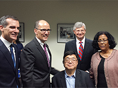 (l-r) L.A. Mayor Eric Garcetti, U.S. Dept of Labor Tom Perez, WIB Chair Charles Woo, L.A. Chamber of Commerce Chair Gary Toebben, and L.A. Economic & Workforce Development Department General Manager Jan Perry