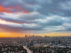 Downtown Los Angeles City at sunset