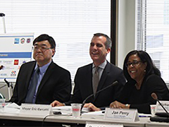 WIB President Charlie Woo, EWDD General Manager Jan Perry and Mayor Garcetti at WIB Quarterly Meeting 7-21-14